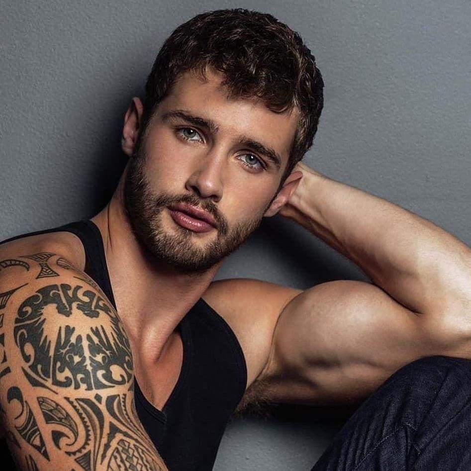#men #tatoo #muscle #face #hunks #beard